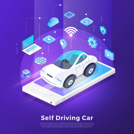 Autonomous self-driving Automobile sensors Smart Car Driverless vehicle technology. Vector illustrate.