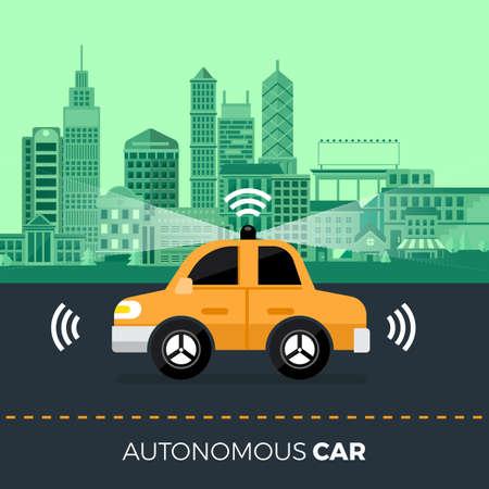 Autonomous self-driving Automobile sensors Smart Car Driverless vehicle technology. Vector illustrate. Vektorové ilustrace