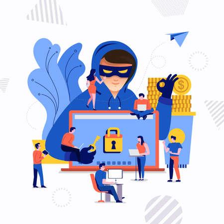 Concept de design plat pirate d'activité cyber voleur sur appareil Internet. Vecteur illustrent.