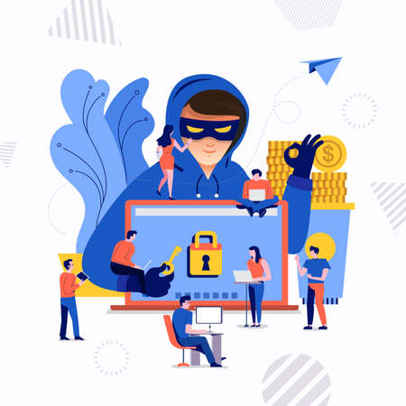 Flat design concept hacker activity cyber thief on internet device. Vector illustrate.  イラスト・ベクター素材