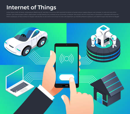 Illustration design concept technology solution of internet of things. Control smart devices with mobile on hand. Vector illustrate.