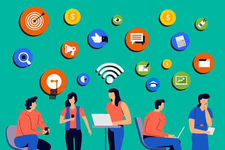 Set of cartoon peoples using internet device like smartphone and laptop with digital lifestyle action. Vector illustrations.