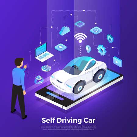 Sensores de automóvil autónomos y autónomos Tecnología de vehículos sin conductor Smart Car. Vector ilustrar. Ilustración de vector