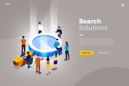 Isometric illustrations design concept teamwork business solution working with object search engine. Vector illustrate.
