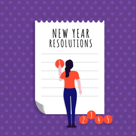 Illustrations flat design concept new year resolutions via set goal with write on paper for mission success. Vector illustrate. Stock fotó - 125935614