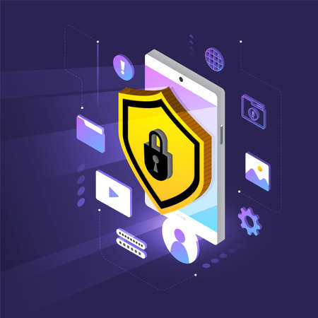 Isometric illustrations design concept mobile technology solution cyber security and device. Gradient background . Vector illustrate. 免版税图像 - 116147797