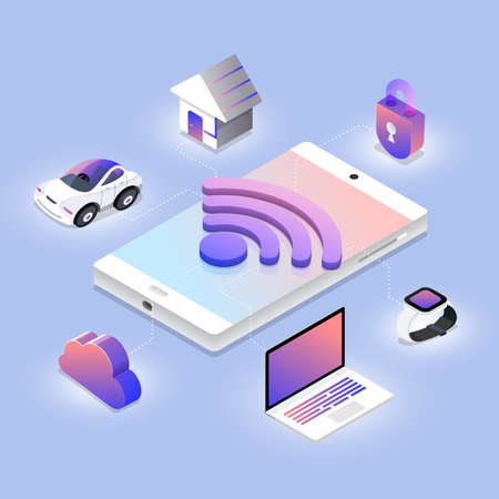 Isometric illustrations design concept wireless network technology working on mobile device. Vector illustrate. Ilustração