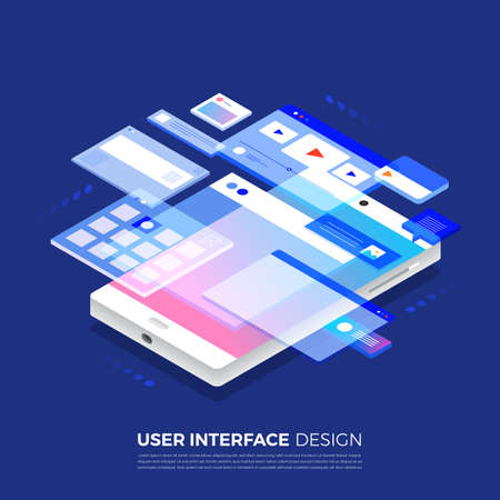 Isometric illustrations concept  user interface design UI  UX present by 3d wireframe on mobile application.Layout template website. Vector illustrate.  イラスト・ベクター素材