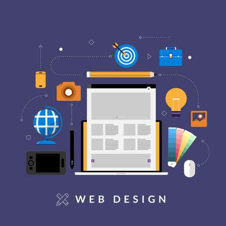 Flat design concept web design development mockup layout devices on multiscreen. Vector illustrations. 向量圖像