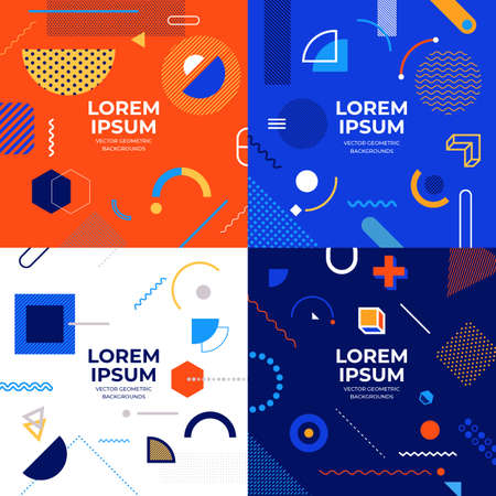 Illustrations design concept object set memphis style covers. Collection of cool bright poster. Abstract geometric shapes compositions. Vector illustrate.