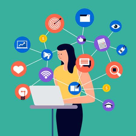 Conjunto de pueblos de dibujos animados que usan dispositivos de Internet como teléfonos inteligentes y computadoras portátiles con acción de estilo de vida digital. Ilustraciones vectoriales.
