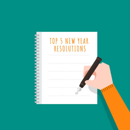 Illustrations flat design concept new year resolutions via set goal with write on paper for mission success. Vector illustrate.