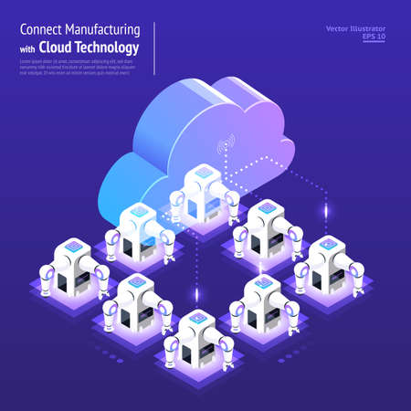 Illustrations design concept digital network with cloud technology and industry manufacturing service solution. Vector isometric illustrate.