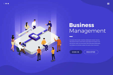 Isometric flat design concept teamwork working business management tools and element. Vector illustrations.