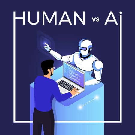 Illustrations concept of AI artificial intelligence vs human via robot and people. Vector illustrate.