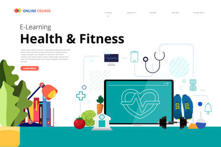 Mockup design landing page website education online course healthy and fitness. Vector illustrations. Flat design element.