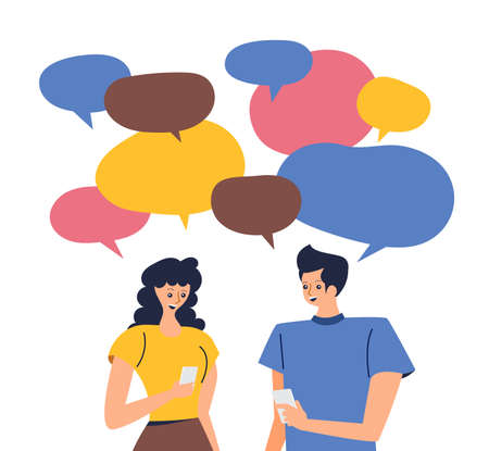 Modern illustrations concpt dating online application via hand hold mobile chat and social activity relationship between man and woman. Vector illustrate.