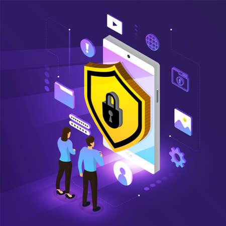 Isometrische illustraties ontwerpconcept mobiele technologie oplossing cyberbeveiliging en apparaat. Achtergrond met kleurovergang. Vector illustreren. Vector Illustratie
