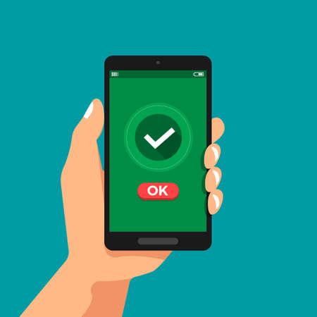 Illustrations concept design plat main tenir la confirmation du smartphone cliquez sur OK. Illustration vectorielle.
