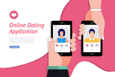Mockup landing page website concpt dating online application via hand hold mobile chat and social activity relationship between man and woman. Vector illustrate.  イラスト・ベクター素材