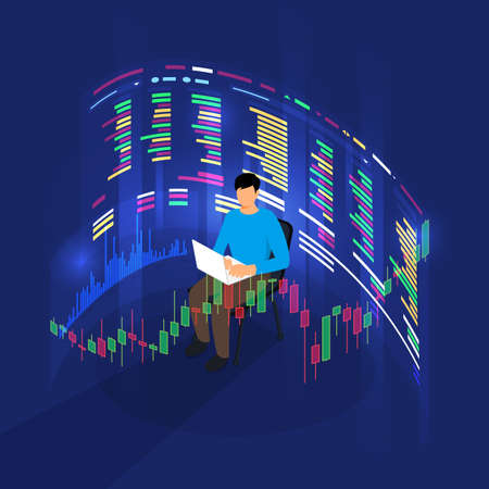 trader working analysis stock exchange graph and chart for decision buy or sell stock. Business concept. Vector illustrations.
