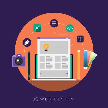 Flat design concept web design development mockup layout devices on multiscreen. Vector illustrations. Illustration