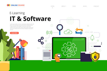 Mockup design landing page website education online course IT and software. Vector illustrations. Flat design element.
