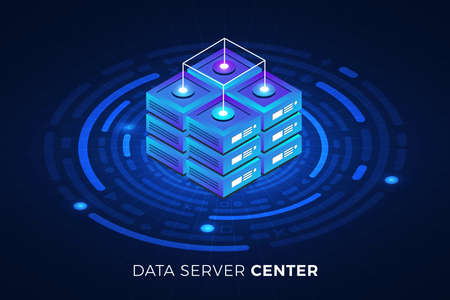 Isometric illustrations design concept technology solution on top with big data server. Gradient background and digital graph chart thin line. Vector illustrate. 向量圖像