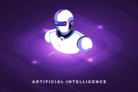 Isometric illustrations design concept technology solution on top with artificial intelligence. Gradient background and digital graph chart thin line. Vector illustrate.