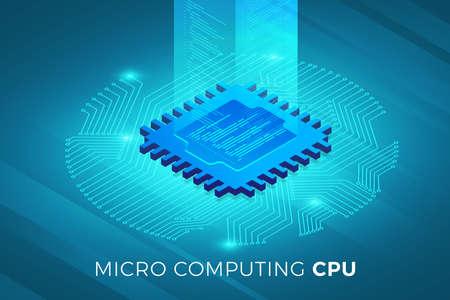 Solution technologique de concept de conception d'illustrations isométriques sur le dessus avec la puce du processeur CPU. Fond dégradé et graphique numérique fine ligne. Illustration vectorielle. Vecteurs