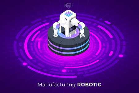 Isometric illustrations design concept technology solution on top with robotic industrial machine robotic. Gradient background and digital graph chart thin line. Vector illustrate.