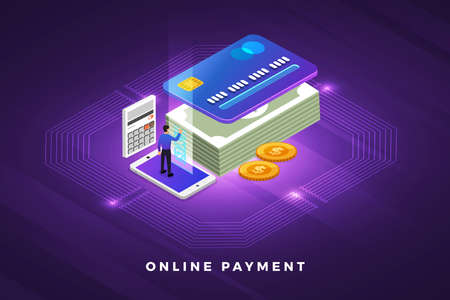 Isometric illustrations design concept technology solution on top with online payment. Gradient background and digital graph chart thin line. Vector illustrate. Ilustração
