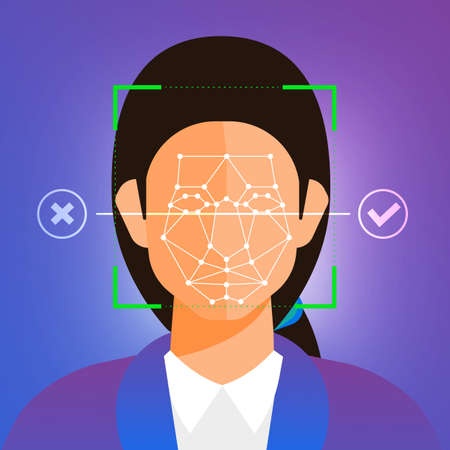 Illustrations concept facial recognition technology present with portrait closeup to face of human for scan. Design for banner website publisher or magazine. Vector illustrate.