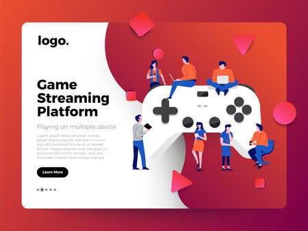 Illustrations flat design concept game online streaming platform can playing multiple device with internet browser. Playing online console controller. Vector illustrate. Векторная Иллюстрация