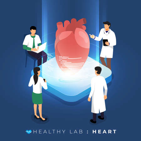 Isometric concept design lab via doctor analysis medical healthy about heart. teamwork education of science. Vector illustrate.