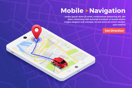 Illustrations design concept location maps with road follow route for destination drive by GPS navigator. Pin point on direction. Vector isometric illustrate. 矢量图像