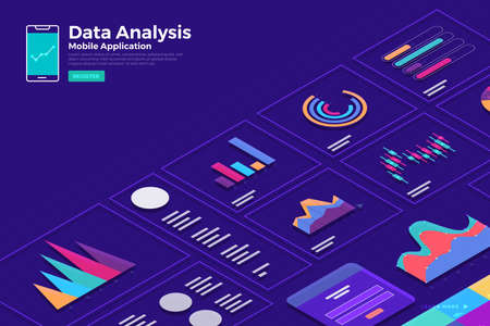 Illustrations concept isometric data  analysis and report static wit graph and chart graphic. Template design for website template banner. Vector illustrate. Foto de archivo - 119684322