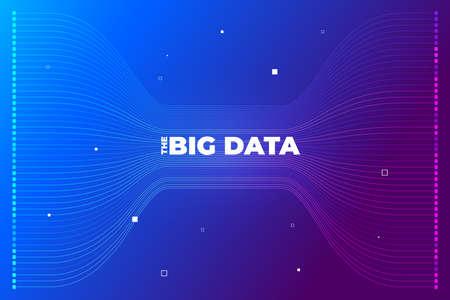 Visualización de big data. Análisis de complejidad de datos visuales. Infografía de diseño de concepto. Representación gráfica de la línea de información. Gráfico de datos abstractos. Ilustración vectorial