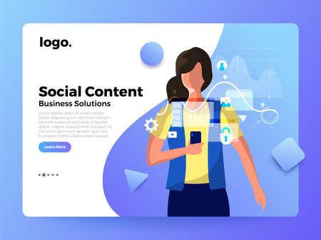 Mockup landing page website flat concept people of business solution. Creative solution provider. Vector illustrations. Stok Fotoğraf - 119684370