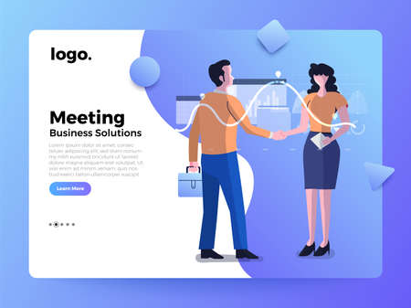Mockup landing page website flat concept people of business solution. Meeting successs deal. Vector illustrations.