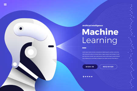 Ilustracje koncepcja sztucznej inteligencji AI. Technologia współpracująca z inteligentnym komputerem mózgowym i urządzeniem łączącym maszynę. Izometryczny wektor ilustrują. Makieta strony docelowej projektu strony internetowej.