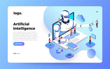 Illustrationen Konzept künstliche Intelligenz AI. Technologie, die mit intelligentem Gehirncomputer und Maschinenverbindungsgerät arbeitet. Isometrischer Vektor veranschaulichen. Zielseitenmodell für Website-Design.