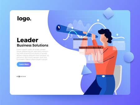 Mockup landing page website flat concept people of business solution. Leader set vision and mission. Vector illustrations.
