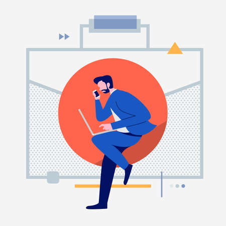 Cartoon peoples using internet device like smartphone and laptop with digital lifestyle icon. Business object. Vector illustrations.