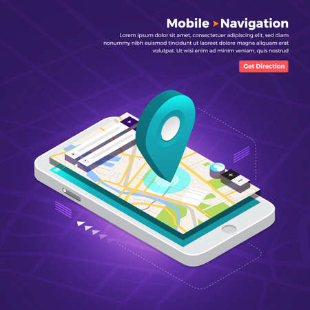 Illustrations design concept location maps with road follow route for destination drive by GPS navigator. Pin point on direction. Vector isometric illustrate. Ilustração