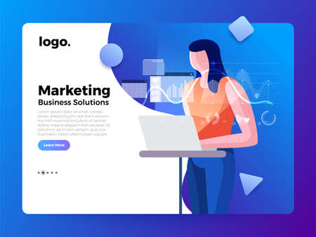 Mockup landing page website flat concept people of business solution. Creative solution provider. Vector illustrations. Stok Fotoğraf - 119684415