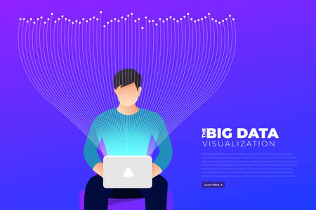 Big data visualization. Visual data complexity analytics. Concept design infographic. Information line graphic representation. Abstract data graph. Vector Illustration 向量圖像