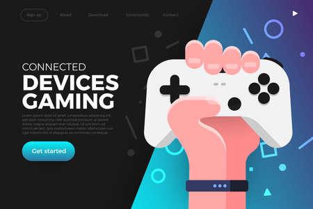 La piattaforma di streaming online del gioco di concetto di design piatto delle illustrazioni può riprodurre più dispositivi con il browser internet. Giocare al controller della console online. Il vettore illustra.