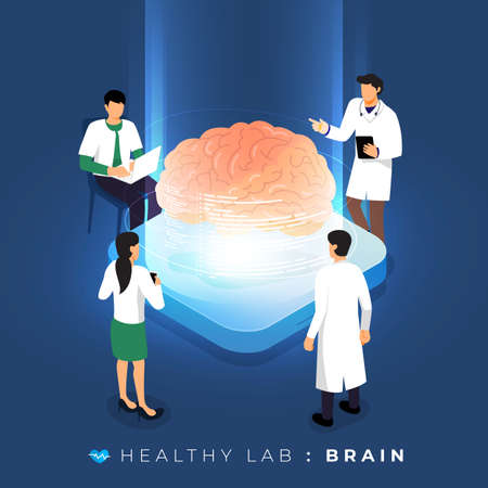 Isometric concept design lab via doctor analysis medical healthy about brain. teamwork education of science. Vector illustrate.