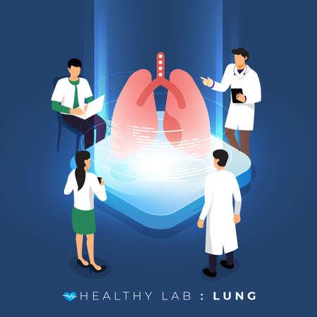 Laboratorio di progettazione concettuale isometrica tramite analisi medica medica sana sui polmoni. educazione scientifica al lavoro di squadra. Il vettore illustra.